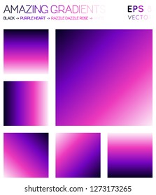 Colorful gradients in black, purple heart, razzle dazzle rose, white color tones. Adorable gradient background, cool vector illustration.