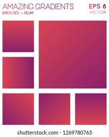 Colorful gradients in brick red, plum color tones. Adorable gradient background, favorable vector illustration.