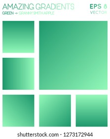 Colorful gradients in green, granny smith apple color tones. Actual gradient background, favorable vector illustration.