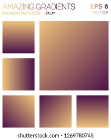 Colorful gradients in macaroni and cheese, plum color tones. Actual gradient background, splendid vector illustration.