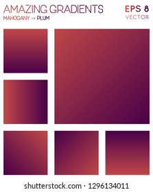Colorful gradients in mahogany, plum color tones. Actual background, magnetic vector illustration.