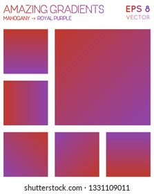 Colorful gradients in mahogany, royal purple color tones. Adorable background, alluring vector illustration.