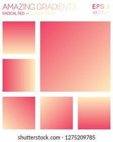 Colorful gradients in radical red, banana mania color tones. Actual gradient background, interesting vector illustration.