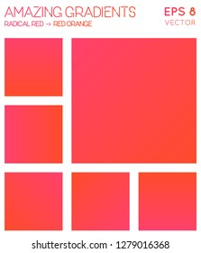 Colorful gradients in radical red, red orange color tones. Adorable gradient background, great vector illustration.