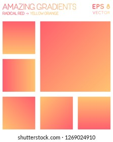 Colorful gradients in radical red, yellow orange color tones. Admirable gradient background, grand vector illustration.