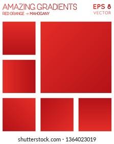 Colorful gradients in red orange, mahogany color tones. Actual background, dazzling vector illustration.