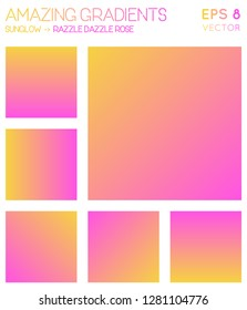Colorful gradients in sunglow, razzle dazzle rose color tones. Alive gradient background, awesome vector illustration.