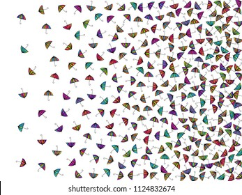 Colorful gradients umbrella figures pattern isolated on white background. Repeating vector parasol drawing shapes backdrop for marketing purposes. Bright umbrella background for first page.