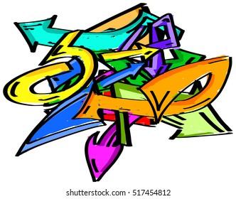 Colorful graffiti arrows design element