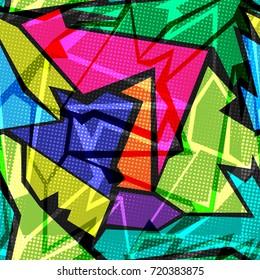 Colorful graffiti geometric seamless pattern