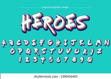 Colorful graffiti style typography design