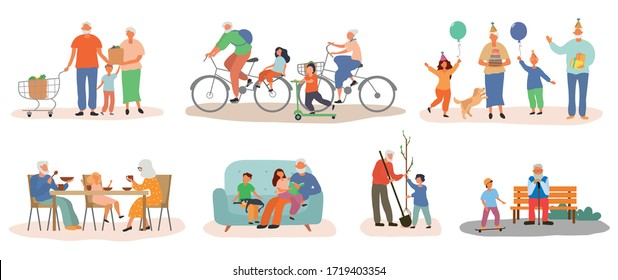 Colorful Grandparents collection with grandkids showing a range of different family activities, colored vector illustration