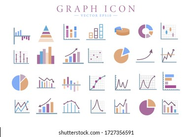 Colorful Graph and chart related flat icons. Infographics business elements. Vector isolated illustration