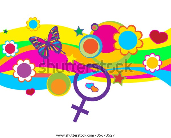 Colorful Graphic Elements with Woman Symbol