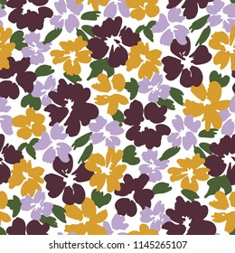Colorful graphic large scale floral vector seamless pattern on white background. Stylized hand drawn garden flowers. Oversized blooms and foliage allover print.