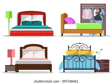 Colorful graphic set of beds with pillows and blankets. Modern bedroom furniture. Flat style vector illustration.