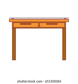 colorful graphic of simple wooden home desk with dark red line contour vector illustration