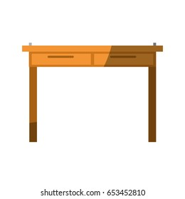 colorful graphic without contour and shading of simple wooden home desk vector illustration
