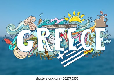 Colorful Greece holidays hand-drawn illustration