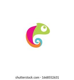 colorful green chameleon logo icon design