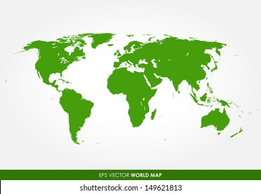 Colorful green detailed world map vector - the most finest world map graphic