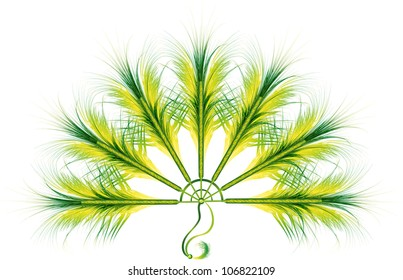 colorful green feather fan cabaret or carnival accessories