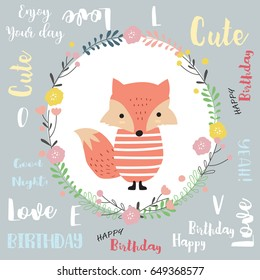 Colorful greeting card with fox,flower,leaf and plant