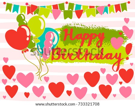 Colorful Greeting Happy Birthday Card Hearts Stock Vector Royalty