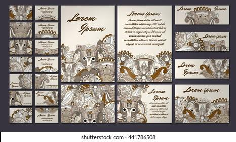 colorful greeting invitation card illustration set. Flower vector design concept collection