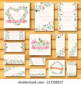 colorful greeting wedding invitation card illustration set. Flower vector design concept collection