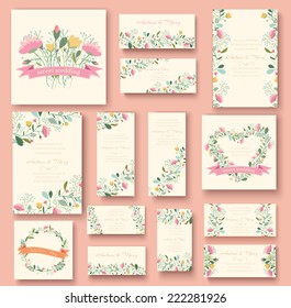 colorful greeting wedding invitation card illustration set. Flower vector design concept collection