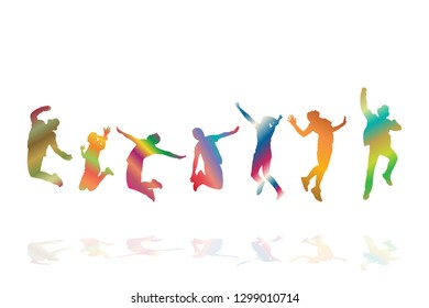 Colorful group of happy people jumping on white background. Team business success concept. Eps10 Vector illustration  collection.
