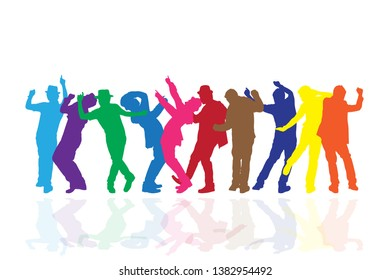 Colorful group of people dancing on white background. Happy celebration concept. Eps10 Vector illustration.