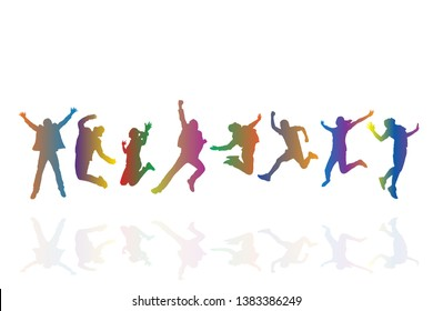 Colorful group of people jumping on white background. Happy celebration concept. Eps10 Vector illustration.