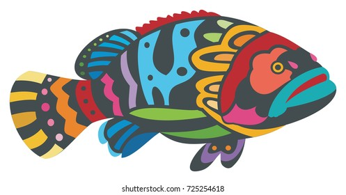 Colorful Grouper Fish