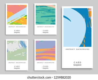 Colorful grunge backgrounds collection. Card or Invitation template. Vector freehand artwork. Abstract modern art