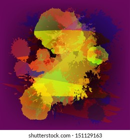 colorful grunge blot splash paint brush abstract purple vector background art design illustration