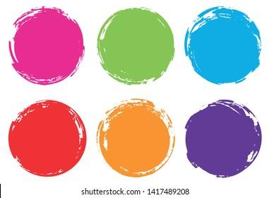 Colorful grunge circles. Grunge round frames.