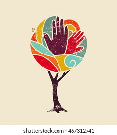 Colorful grunge concept tree art with people hands and nature design for social diversity, environment help. EPS10 vector.