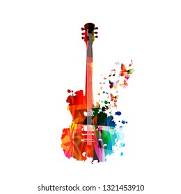 Colorful guitar with music notes isolated vector illustration design. Music background. Music instrument poster with music notes, festival poster, live concert events, party flyer