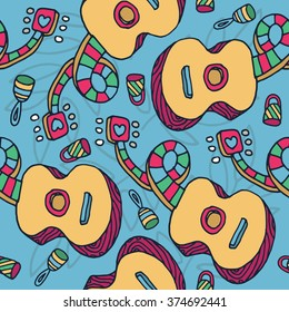 Colorful guitar and rattle seamless pattern