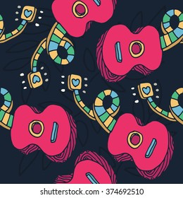 Colorful guitar seamless pattern