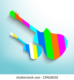 Colorful Guitars on blue background.