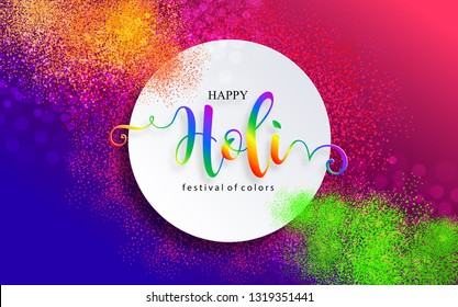 Colorful gulaal (powder color) for Happy Holi festival card with gold patterned and crystals on paper color Background.
