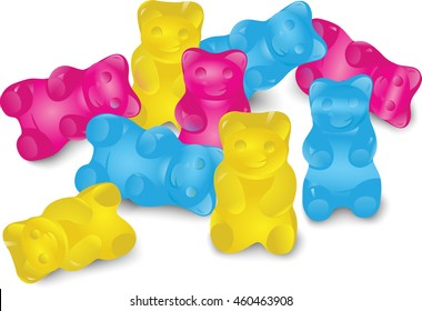 Colorful Gummy Bears. Eps10