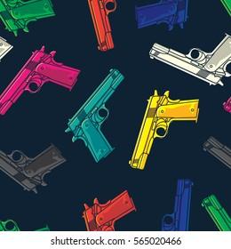 Colorful Guns/Pistols Seamless Pattern. Background Wallpaper