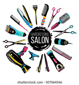 Colorful hairdresser decorative set with beauty haircut accessories and equipment with round haircut salon logo in center.