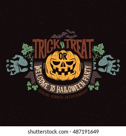 Colorful Halloween logo, mascot, smiling pumpkin, and the dead man's splayed arms with ribbon and bats. Vector illustration.