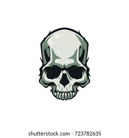 Colorful Halloween sticker style illustration with scary realistic skull isolated on white background.