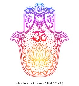"""Colorful Hamsa hand drawn symbol with flower. Decorative pattern in oriental style for interior decoration and henna drawings. The ancient sign of """"Hand of Fatima""""."""